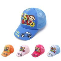 Wholesale Red Monkey Hats Wholesale - Spring and summer children's hats infant cap 2-8 years baby baseball cap boys and girls casual monkey printed mesh cap