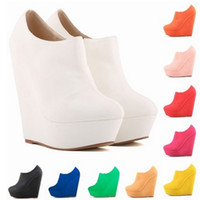 Wholesale Sexy Platform Ankle Boots - Sexy Womens Wedge Roman Boots Elegent Platform High Heels Scrub Shoes Ankle Boots Wedges Botas Femininas Europe Size 35-42 D0116