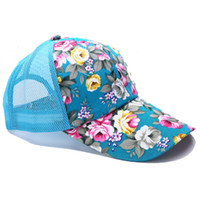 Wholesale Red Hat Summer Time - 2017 Fashion Hot Flower Baseball Hats Summer Women Sun Hat Outdoor Sport Hip Hop Cap Leisure Time snapback Dad Caps 6 color