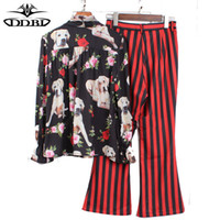 Wholesale Strip Blouse - pantsuit dogs print black blouses + black and red vertical stripped long flare pants two pieces clothing set 170531