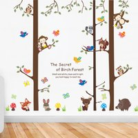 Wholesale tree wallpaper decoration - Cartoon Animals on Big Tree Wall Stickers The secret of Forest Wallpaper Poster Art Kids Room Nursery Wallpaper Poster Home Decoration Decal