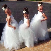 kinder kleider rüschen ausschnitt großhandel-Neue Blumenmädchenkleider V Zurück Ballkleid Kommunion Party Pageant Kleid für Kleine Mädchen Kinder / Kinder Kleid für Hochzeit