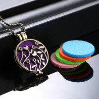 Wholesale Lockets Fragrance - Wholesale-(Necklace+5Pad) set Fashion Flower Locket Necklace Women Perfume Fragrance Essential Oil Aromatherapy Diffuser Pendant Necklace