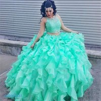 Wholesale Satin Lace Girls Dresses - 2017 Mint Lace Quinceanera Dresses 2 Piece Ball Gown Princess Puffy Ruffle Masquerade Sweet 16 Dresses Prom Girls vestidos de 15 anos