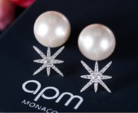 Stud Cubic Zirconia White Apo monaco new 925 sterling silver star pearl earrings anti - allergic micro zircon earrings burst