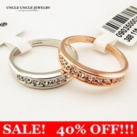 Wholesale Ladies Finger Ring Gold - Rose Gold Color Austrian Rhinestones Classic Must-have Simple Lady Finger Ring 18KRGP Stamp