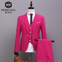 Wholesale Morning Dress Men - Wholesale- 2016 New tailor Made Hot Pink Men Jacket Groom Tuxedos Classical Men's Wedding Prom Suits Groomsman best man Morning Dress