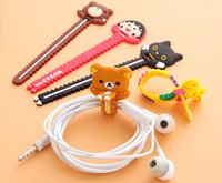 Wholesale cartoon cable holder - Cute Cartoon Animal Earphone Wire Cord Cable Organizer Holder For iPhone 7 6s Samsung Headphone USB Cable