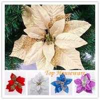 Wholesale Wholesale Artificial Xmas Trees - 20CM 5 Color Christmas tree decoration flower high quality Xmas flower decoration artificial poinsettia flower