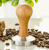 ingrosso bar a casa artigianale-Home Bar Garden Acciaio inossidabile 58mm manico in legno Caffè Tamper Barista Espresso maker Grinder Handmade