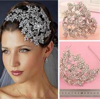 balo için gümüş saç aksesuarları toptan satış-Yeni Düğün Gelin Kristal Rhinestone Gümüş Kraliçe Bantlar Tiara Başlığı Prenses Saç Aksesuarları Pageant Balo Perakende Takı Parti