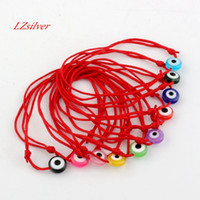 Wholesale evil eyes charms - Hot ! 120pcs Kabbalah Red String Bracelet mix color Resin Evil Eye Bead Red Protection Health Luck Happiness Bracelets B-35