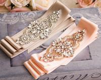 Wholesale Gowns Accessories Designs - Crystal Rhinestone Wedding Gown Sash Belt Rose Gold Bridal Sash Belt Blush Crystal Belt Fashion Elegant Design Wedding Accessories