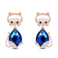 Wholesale Cats Eye Gold Earrings - 2016 Korea Lovely wind girl pendant drop cute cat crystal jewelry cat's eye fashion joker earrings manufacturer