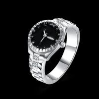 Wholesale Mixed Colour Watches - 2017 vintage New Fashion Creative Silver Colour Simulation Watch Rings with diamond for Women and Men Party Jewelry