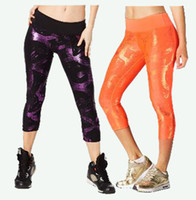 Wholesale Capri Dance Pants - S M L woman dance pants Great Getaway Metallic Perfect Capri Leggings yoga pants purple orange color