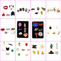 Wholesale Ice Cream Alloy - 106 styles enamel colorful Lapel pins Badge Backpack Shirt Collar Decor Bird Flower Tree Fruit Bee Ice Cream Guitar Pencil