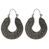 Wholesale Vintage Geometric Earrings - Vintage Style Tibetan Jewelry Antique Silver Color Geometric Big Hoop Earrings for Women Fashion Jewelry
