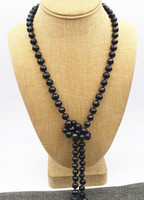 Wholesale New mm Black real akoya Tahiti Cultured Pearl Necklace quot AA Hand knotted