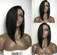 Wholesale Human Lacefront Wigs - Bob Human Hair Wig Human Hair Glueless Full Lace Wigs With Baby Hair Straight Short Wigs Lacefront