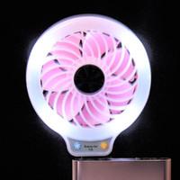 Wholesale Small Fan Lamp - beauty LED Night Light with USB Mini Fan Portable Selfie fill in Light with Small Fan for Power Bank Smartphone Pocket usb Lamp fan