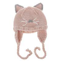 Wholesale Cartoon Character Kids Crocheted Hats - Newborns Baby Cute Cartoon Cat Ears Hat Kids Autumn Winter Warm Knitted Earflaps Cap Girls Boys Casual Crochet Earmuffs Cap Beanies