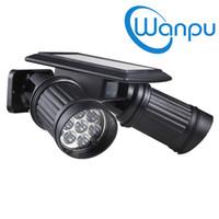 Wholesale double sensor lights - New Solar LED Spotlights Double Head Human Body Induction Sensor Light Wall Garage Garden Shops 14 LED Spotlights Lamp