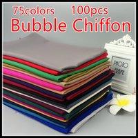 Wholesale Thicker Chiffon - Wholesale- 60colors 100pcs 1lot top quality bubble chiffon hijab 135g 1pcs thicker material ,scarf ,shawl 180*75cm ,can choose colors