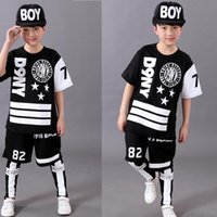 Wholesale Dancing Clothes Jazz - 3 Pieces Kids standard Hip hop dancing costumes Boys Jazz Dancing Clothes children's ballroom Hippop dance competition tops+Pants