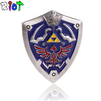 Wholesale Stainless Medal - Wholesale- The Legend of Zelda Shield Badge Brooch 2color Anime Cartoon Cool Badge Medal pin badge Souvenir Collectible Accessory lapel pin