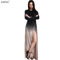 Wholesale Drop Hem - Wholesale- ZAFUL 2016 New Brand Fashion Long Sleeve Dropped Armholes Split Hem Dress Women Sexy Side Slit Vintage Club Party Dresses
