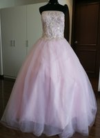 Wholesale Straight Wedding Dresses - 2017 Fall Brand New Designer Wedding Dress With Straight Across Neckline Strapless Pink PuffyEmbroidery Bridal Dress