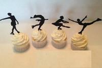 Wholesale Custom Cupcake Decorations - custom Figure Skating Silhouette Cupcake Toppers sports food Picks bridal shower Bachelorette Party wedding birthday toothpicks decorations