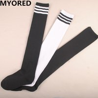 Wholesale Womens Long White Socks - winter warm thick striped cotton stockings thigh high womens girls lady long socks over knee College winds for student 40pairs DHL free ship