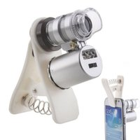 Wholesale Phone Microscope - 60X Universal Mobile Phone Microscope Macro Lens Optical Zoom Magnifier Micro Camera Clip LED Lenses For iPhone SE 5S 6S Plus