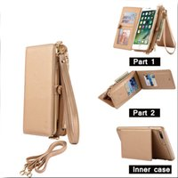 Wholesale Stand Man Iphone - Fashion Women wallets handbags, Luxury Multifunction Wallet Leather Stand Flip Phone Bag Men Shockproof Case For Iphone 7 7Plus