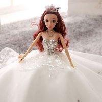 Wholesale 3d Real Dolls - Barbie doll wedding princess 3D real eye bride and baby doll's toy 2017 new baby toy