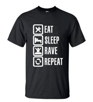 Wholesale Funny Rave Shirts - Camping T-Shirts Men's T-Shirts Summer Style Funny Eat Sleep Rave Repeat T-Shirt Men Casual Short Sleeve Round Neck T shirt Streetwear Hip