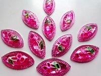 Wholesale Pink Flatback Rhinestones - 30pcs new fashion style sew on crystal pink rhinestones flatback horse eye navette shape 15*30mm 2 holes rose red gem stones