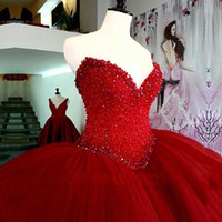 Wholesale Real Gorgeous - Gorgeous Red Ball Gown Quinceanera Dresses 2017 Luxurious Beaded Crystals Tulle Vestidos De 15 Anos Burgundy Princess Sweet 16 Dress