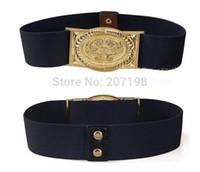 Wholesale wholesale carved leather belts - Wholesale- Woman Luxury Golden Carved Celebrities Strech Belt Black Band, 6cm Wide Cummerbund, Brand Design Lady Cinto Feminino