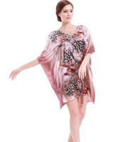 Wholesale Sexy Clothes For Women Sleep - Plus Size Leopard Print Night Dress Women Satin Faux Silk Sleepwear Nightgown With Ribbon Casual Loose Sleeping Dress For Home Clothing