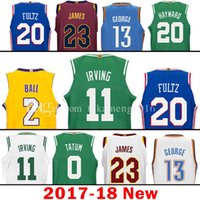 Wholesale Gordon Jersey - 2017-18 New 11 Kyrie Irving 2 Lonzo Ball 20 Markelle Fultz Jersey Gordon Hayward 23 LeBron James 13 Paul George Tatum 21 Joel Embiid Jerseys