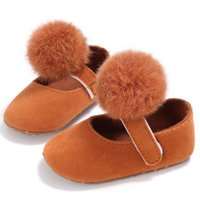 Wholesale Decorations For Shoes Babies - Wholesale- 2017 Lovely Cotton Material Wool ball decoration Non-slip Baby Girls Shoes Shallow Mouth Toddler Prewalker For Girls 0-18M S2