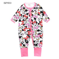 Wholesale Minnie Mouse Overall - Mickey Baby Boy Girl Romper Fashion Minnie Mouse Newborn Cartoon Print Jumpsuit Kid Toddler Overall Clothes Layette Boutique Costume