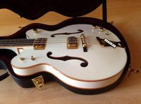 Wholesale Electric Guitar Hollow Body Gold - Custom G6136LSB White Falcon 4 Strings JAZZ Electric Bass Guitar Ebony Fingerboard Gold Sparkle Body Binding Semi Hollow Body Double F Hole