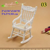 Wholesale Wood Living Room Furniture Sets - qq_dollhouse 1:12 Dollhouse Furniture Miniature Living Room Set Wood Rolling Chair Arm Chair White;Doll house mini furnitures accessory Gift