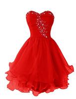 736e86ec61db Abiti economici Prom 2017 Prom Abito corto rosso su ordine Sweetheart  Womens Red Breve illusione che borda i Organza Abiti da sera indossare abito