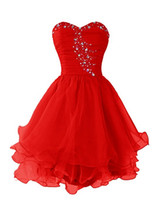 Wholesale Womens Dresses Size 18w - Cheap Prom Dresses 2017 Red Sweetheart Short Prom Dress Custom Made Red Womens Short Illusion Beading Organza Dresses Evening Wear Gown