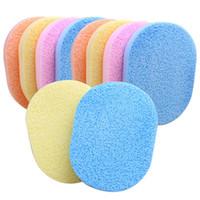 Wholesale Scrubbing Pads - 24Pcs Lot Soft Facial Cleansing Sponge Face Makeup Wash Pad Cleaning Sponge Puff Exfoliator Scrub Random Color
